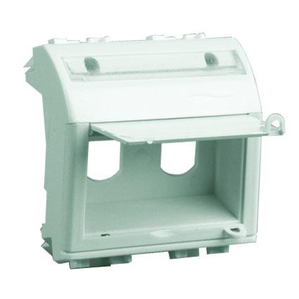 Адаптер для двух оптоволоконных разъемов типа ST, белый, 2мод.