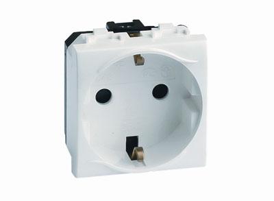 Электрическая розетка, без заземления, со шторками, слон. кость, 2мод.