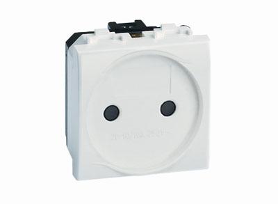 Электрическая розетка, без заземления, со шторками, черная, 2 мод.
