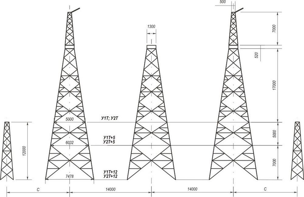 Анкерно-угловые транспозиционные свободностоящие опоры У1Т, У1Т+5, У1Т+12, У2Т, У2Т+5, У2Т+12