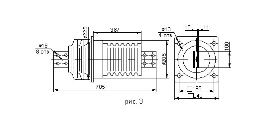 Проходной фарфоровый изолятор ИПУ 10 кВ
