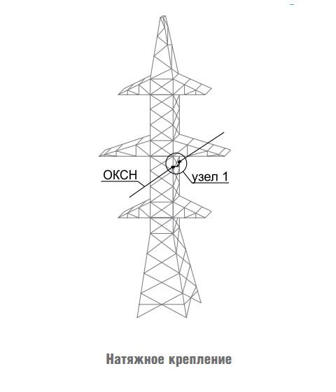 Крепление ОКСН на опорах ВЛ 35-220 кВ