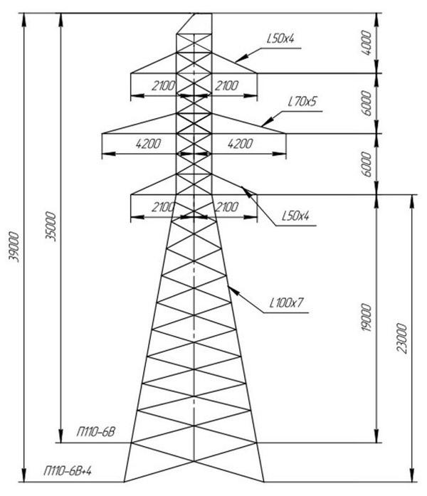 Промежуточные опоры П110-6В, П110-6В+4
