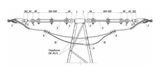 Натяжное крепление ОК, встроенного в грозозащитный трос (ОКГТ), для ВЛ 500 кВ