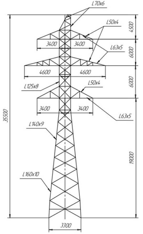 Промежуточно-угловые опоры ПУС110-2