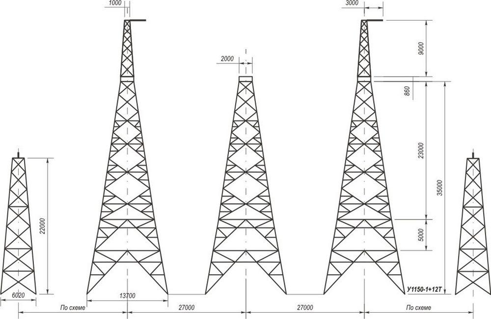 Анкерно-угловые транспозиционные свободностоящие опоры У1150-1+12Т