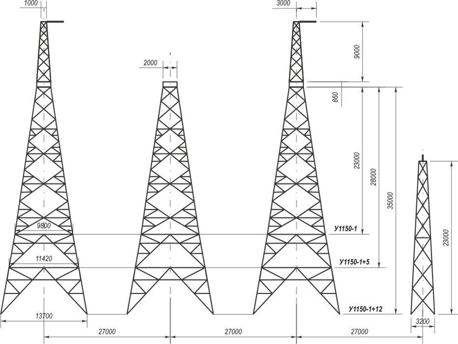 Анкерно-угловые четырехстоечные свободностоящие опоры У1150-1, У1150-1+5, У1150-1+12