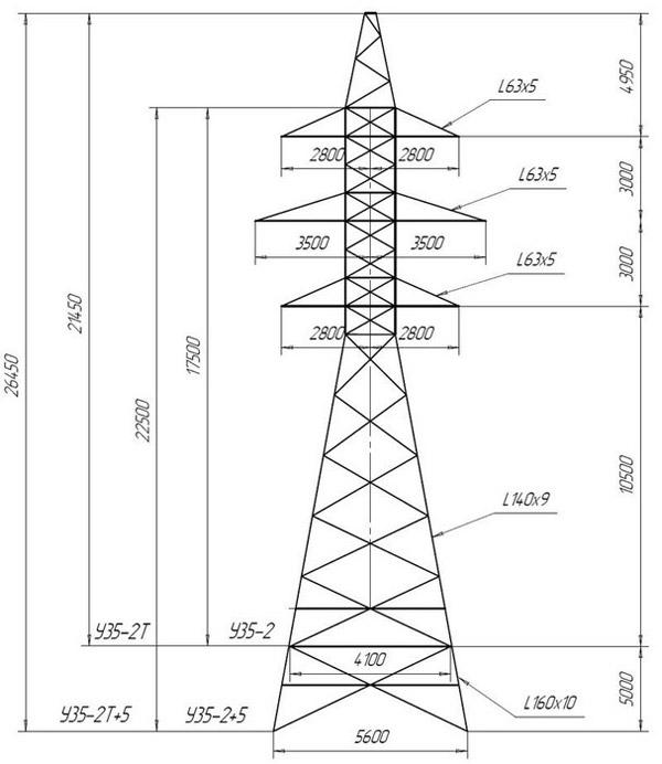 Анкерно-угловые опоры У35-2, У35-2+5, У35-2Т, У35-2Т+5