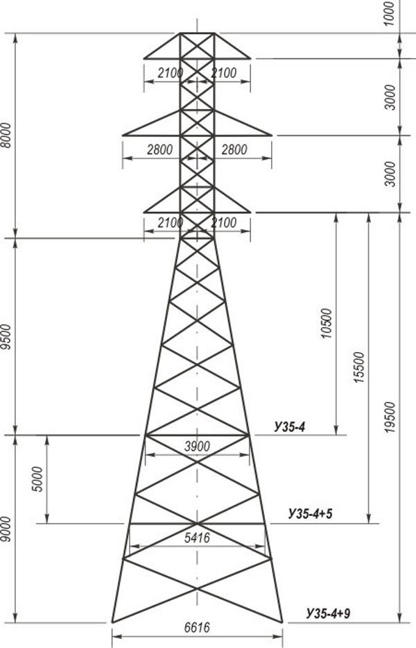 Анкерно-угловые опоры У35-4, У35-4+5, У35-4+9
