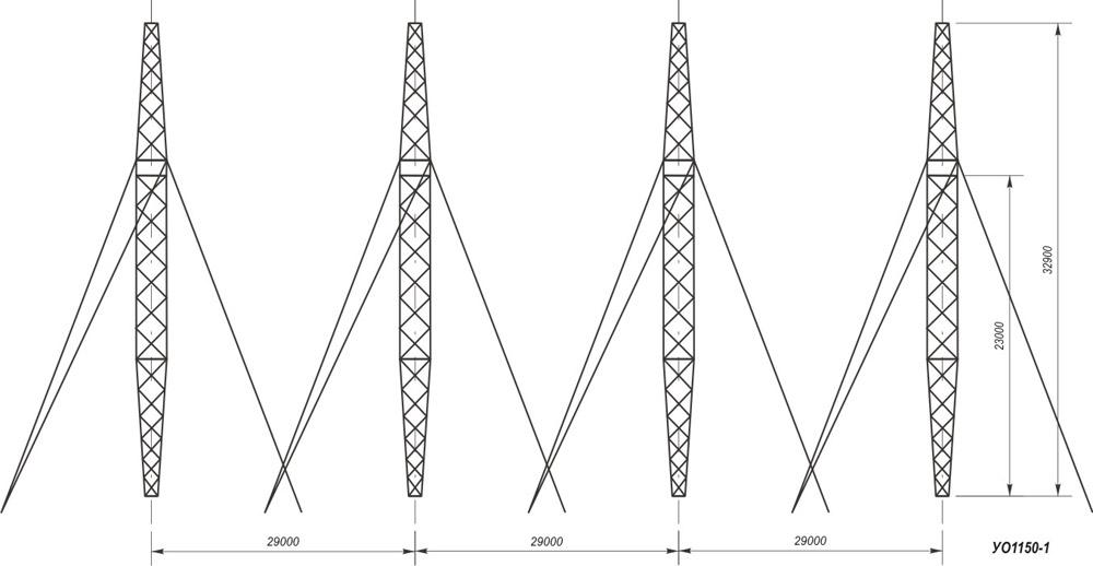 Анкерно-угловые четырехстоечные опоры на оттяжках УО1150-1