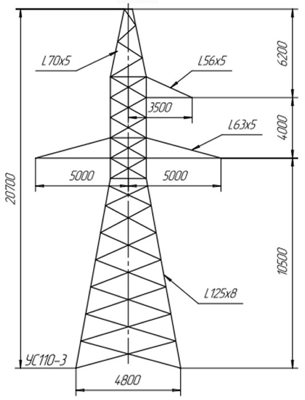 Анкерно-угловые опоры УС110-3