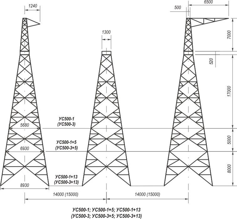 Анкерно-угловые трехстоечные свободностоящие опоры УС500-1, УС500-1+5, УС500-1+13, УС500-3, УС500-3+5, УС500-3+13