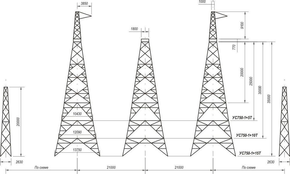 Анкерно-угловые транспозиционные свободностоящие опоры УС750-1+5Т, УС750-1+10Т, УС750-1+15Т