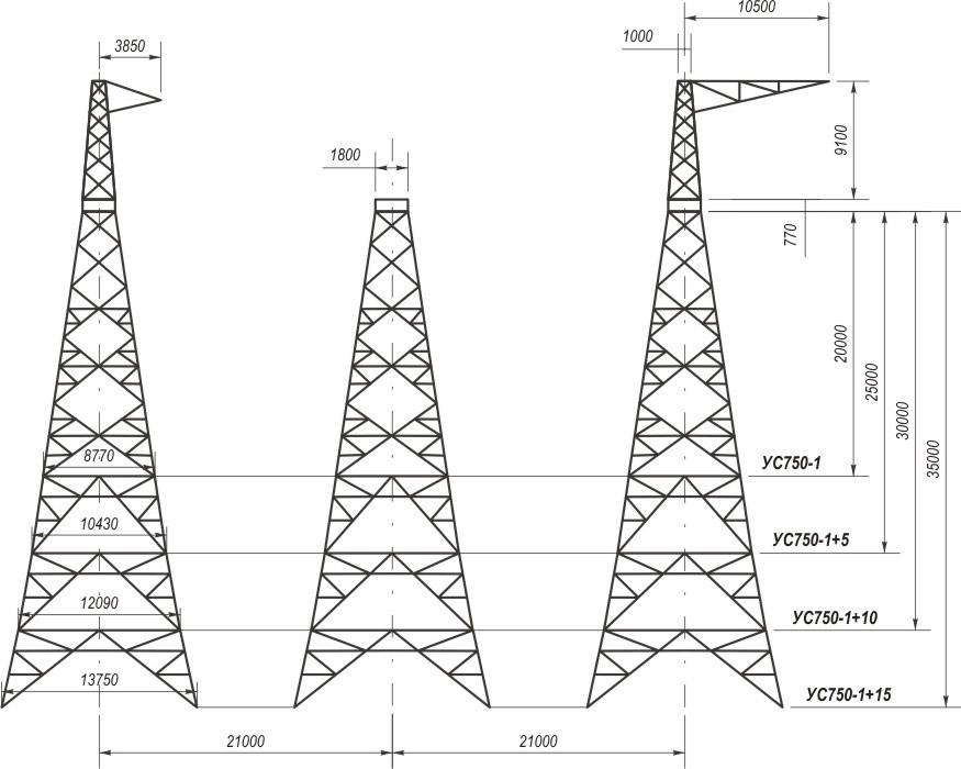 Анкерно-угловые трехстоечные свободностоящие опоры УС750-1, УС750-1+5, УС750-1+10, УС750-1+15