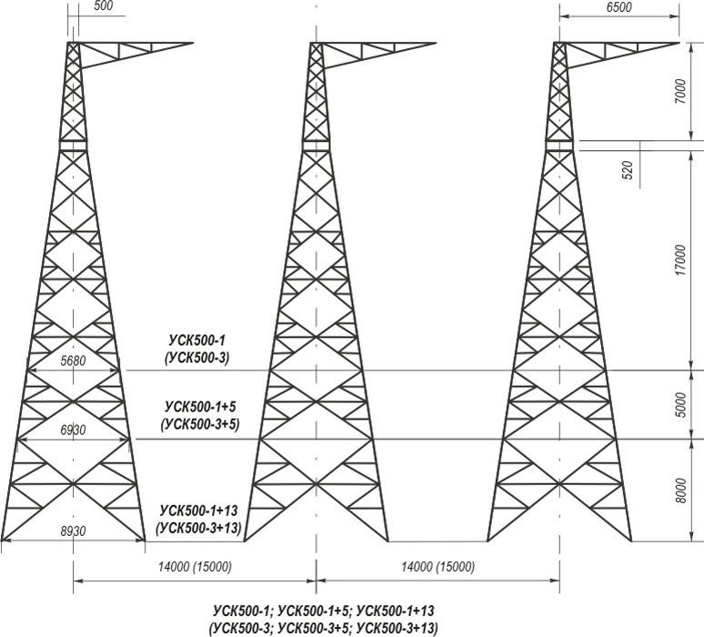 Анкерно-угловые трехстоечные свободностоящие опоры УСК500-1, УСК500-1+5, УСК500-1+13, УСК500-3, УСК500-3+5, УСК500-3+13