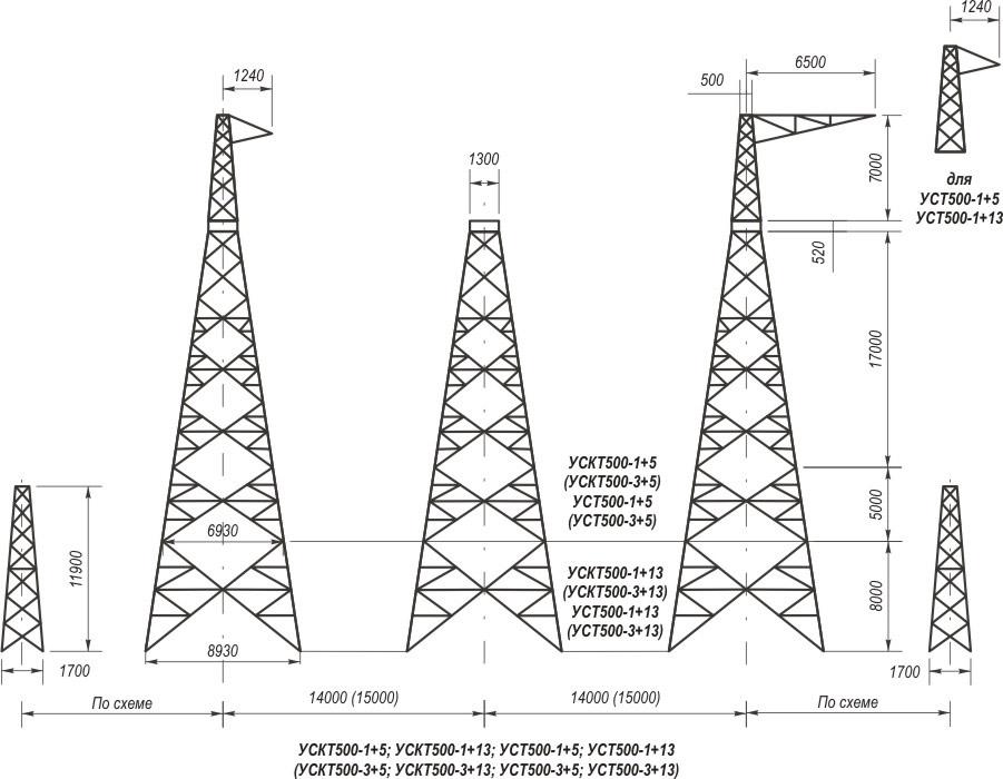 Анкерно-угловые транспозиционные свободностоящие опоры УСТ500-1+5, УСТ500-1+13, УСТ500-3+5, УСТ500-3+13, УСКТ500-1+5, УСКТ500